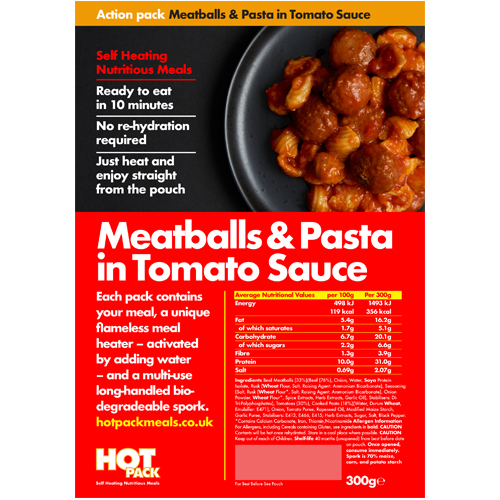 Hot Pack Action Hot Pack Self Heating MEATBALLS & PASTA