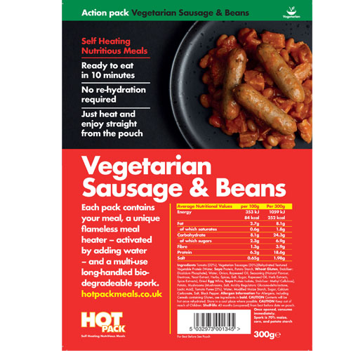 Hot Pack Action Hot Pack Self Heating Meal VEGETARIAN SAUSAGE, EGG & BEANS