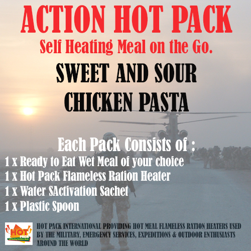 ACTION HOT PACK SELF HEATING MEAL  Sweet & Sour Chicken Pasta