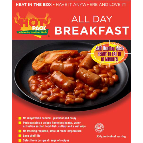 Hot Pack SELF HEATING Meal in a box  All Day Breakfast qty 1