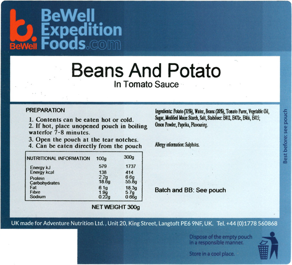 300g Beans & Potato in Tomato Sauce  MRE Wet Meal