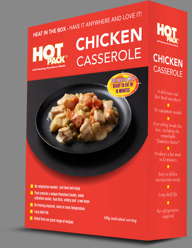 Hot Pack SELF HEATING Meal in a box Chicken Casserole Qty 12