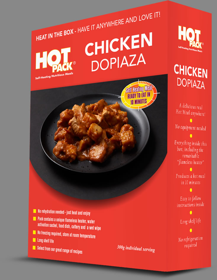 Hot Pack SELF HEATING Meal in a box Chicken Dopiaza Qty 12