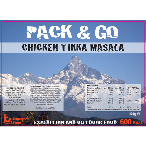 Pack & Go 600 Kcal Chicken Tikka Masala