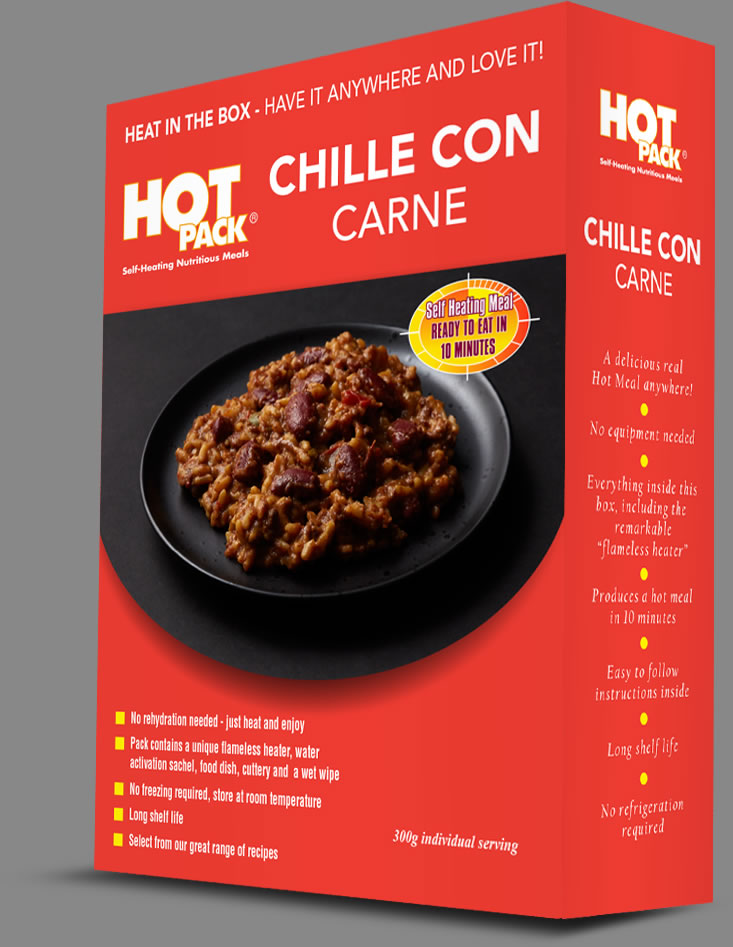 Hot Pack SELF HEATING Meal in a Box Chilli Con Carne Qty 12