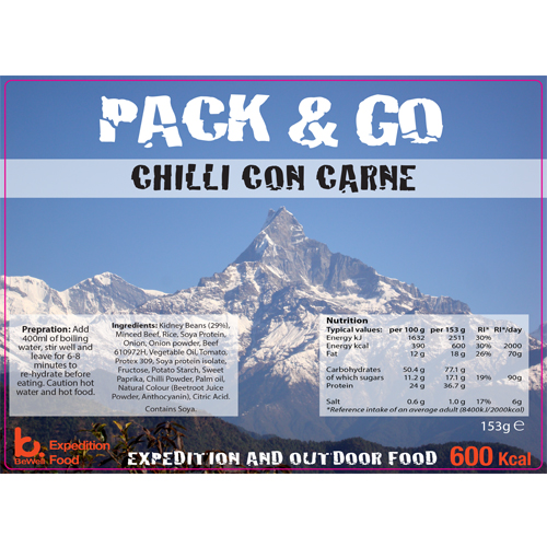 Pack & Go 600 Kcal Chilli Con Carne