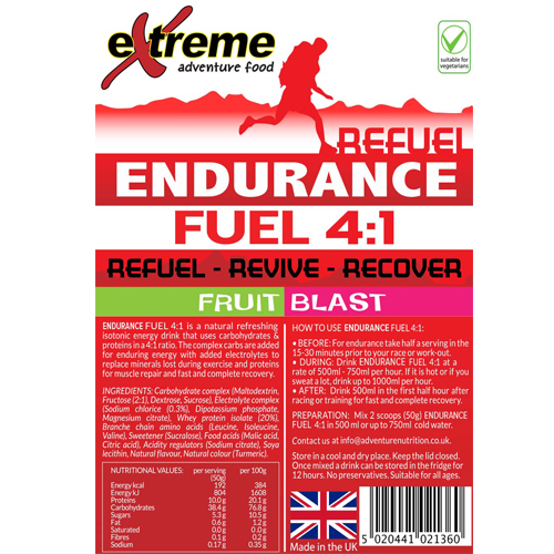 Extreme 4:1 Energy, Endurance, Electrolyte & Protein Recovery drink FRUIT BLAST