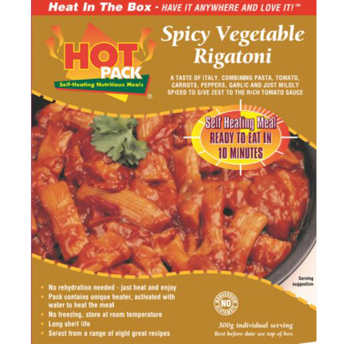 Hot Pack SELF HEATING Meal in a Box  Spicy Vegetable Rigatoni  12
