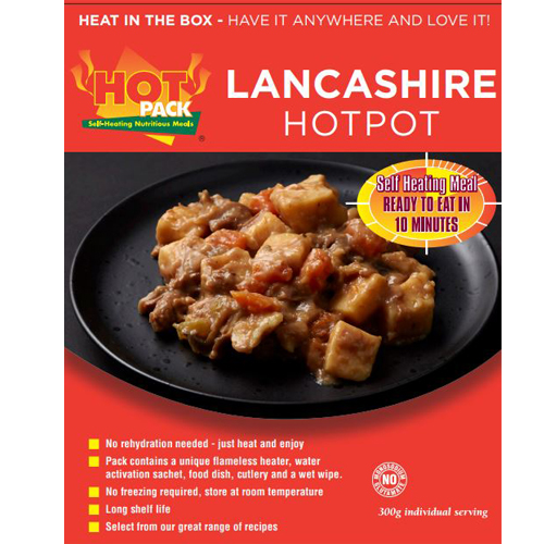 Hot Pack SELF HEATING  Meal in a box Lancashire Hotpot Qty  24