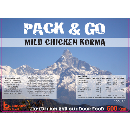 Pack & Go 600 Kcal Mild Chicken Korma