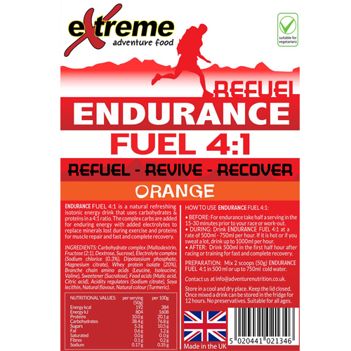 Extreme 4:1 Energy, Endurance, Electrolyte & Protein Recovery drink ORANGE