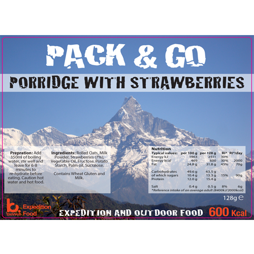 Pack & Go 600 Kcal Porridge & Strawberries