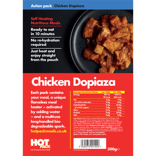 Hot Pack Action Hot Pack Self Heating Meal CHICKEN DOPIAZA 300g