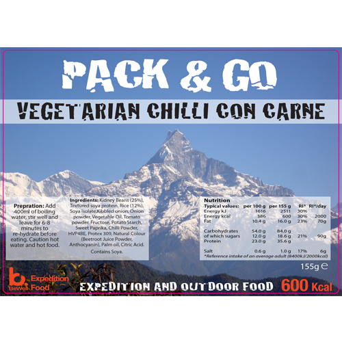 Pack & Go 600 Kcal Vegetarian Chilli Con Carne
