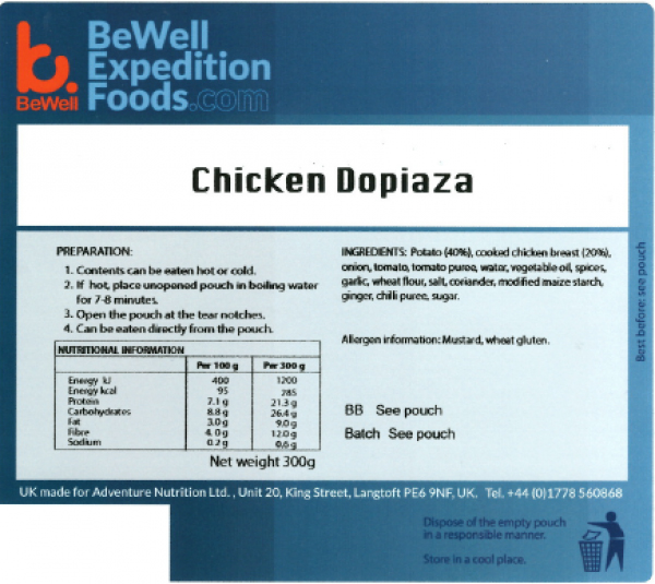300g Chicken Dopiaza MRE Wet Meal