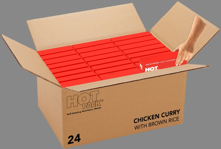 Hot Pack SELF HEATING Meal in a Box Chicken Curry & Brown Rice qty 24