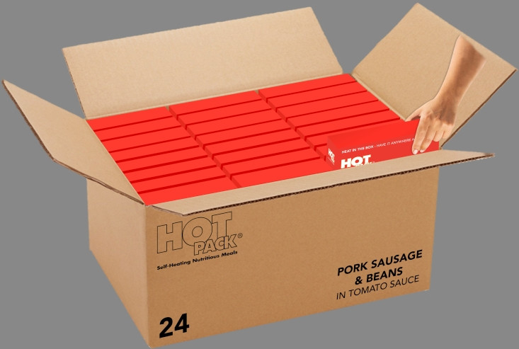Hot Pack SELF HEATING Meal in a box  Sausage, Beans & Tomato Sauce Qty 24