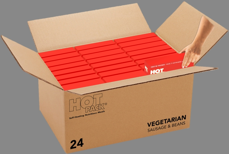 Hot Pack SELF HEATING Meal in a Box Vegetarian Sausage, Egg & Beans Qty 24
