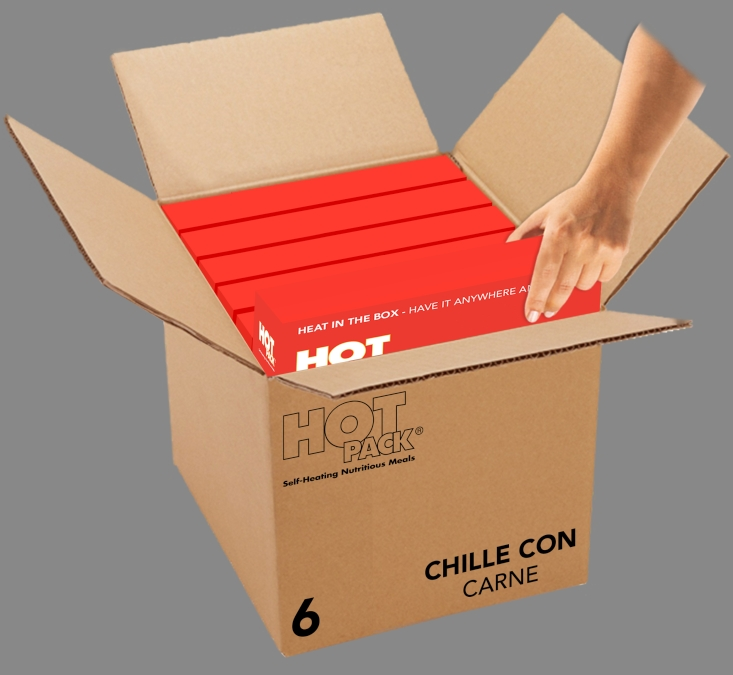 Hot Pack SELF HEATING Meal in a Box Chilli Con Carne Qty 6