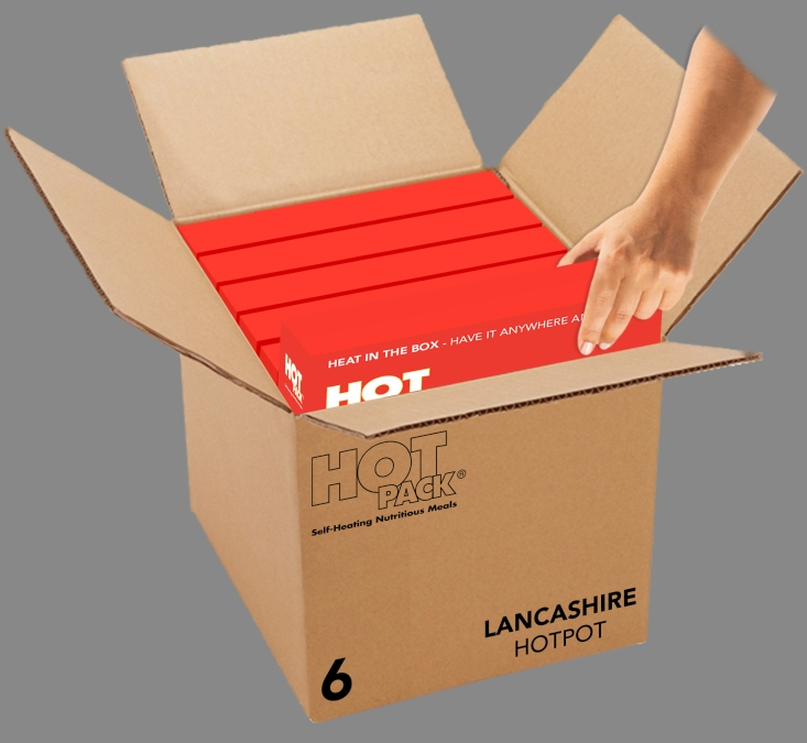 Hot Pack SELF HEATING  Meal in a Box Lancashire Hotpot Qty 6