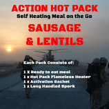 Action Hot Pack Self Heating Meal SAUSAGE & LENTILS