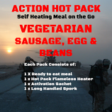 Action Hot Pack Self Heating Meal VEGETARIAN SAUSAGE, EGG & BEANS