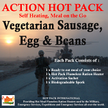 Action Hot Pack Self Heating Meal VEGETARIAN SAUSAGE, EGG & BEANS 300g