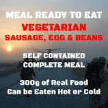 300g Vegetarian Sausage, Egg & Beans MRE Wet Meal